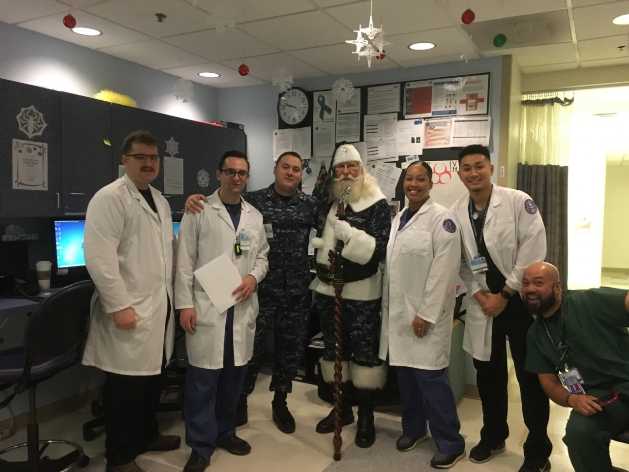 Santa Doug with Medical Staff at James A Lovell FHCC