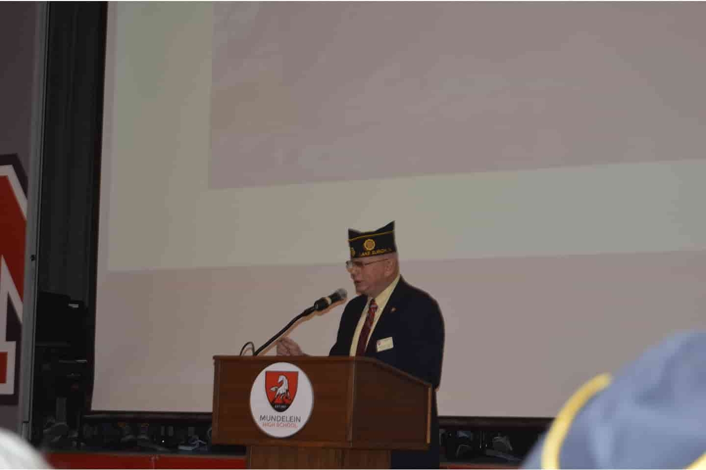 Mike Peck revealed to the assembly at MHS Veterans Day Program that he is true