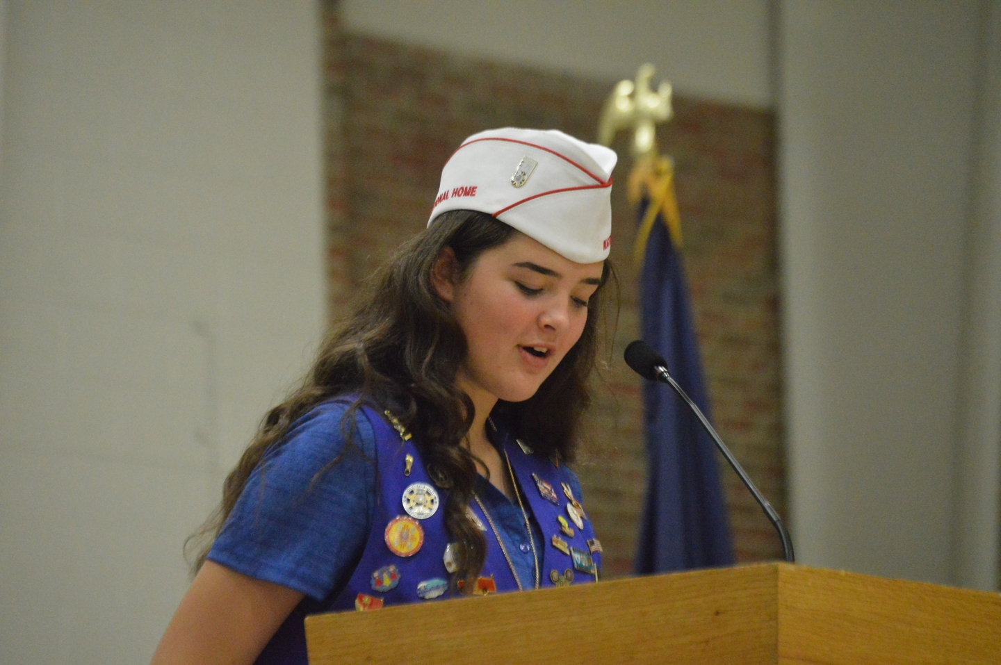 VFW National Poppy Child, 2017 addressed the Illinois Delegation at the VFW National Home.